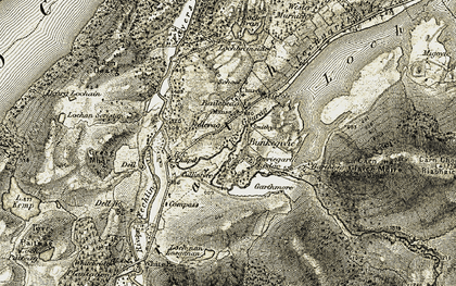Old map of Bailebeag in 1908-1912