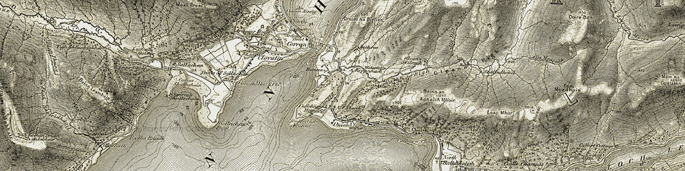 Old map of Abhainn Righ in 1906-1908