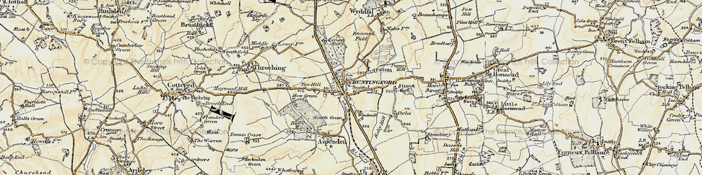 Old map of Buntingford in 1898-1899