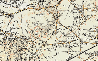 Old map of Burchett's Green in 1897-1909