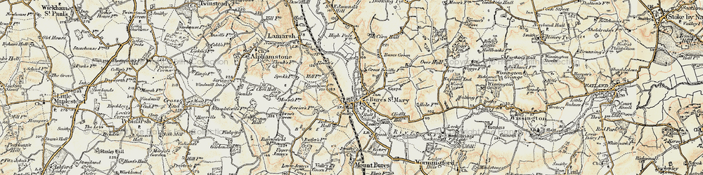 Old map of Bures in 1898-1901