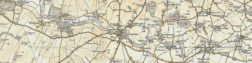 Old map of Burford in 1898-1899