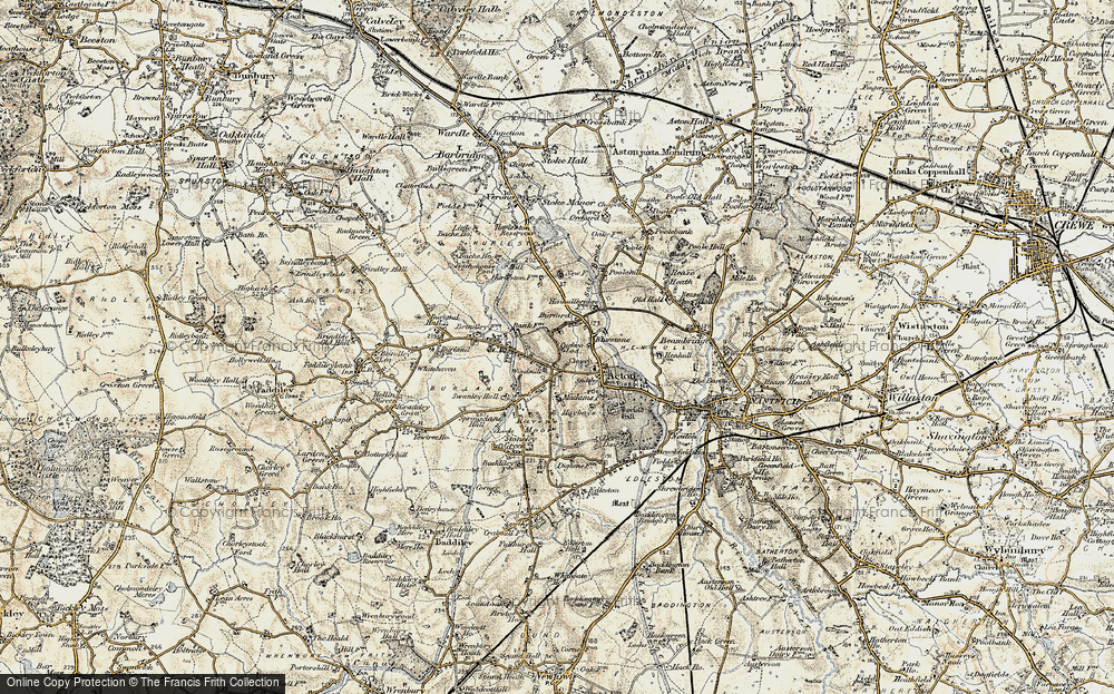 Old Map of Historic Map covering Acton Grange in 1902