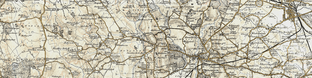 Old map of Acton Grange in 1902