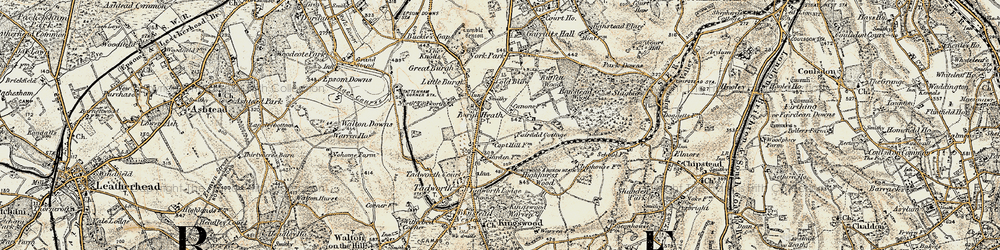 Old map of Burgh Heath in 1897-1909