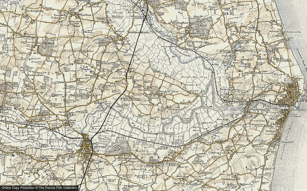 Old Map of Historic Map covering Wheatacre Marshes in 1901-1902