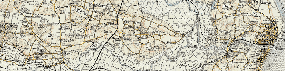 Old map of Wheatacre Marshes in 1901-1902