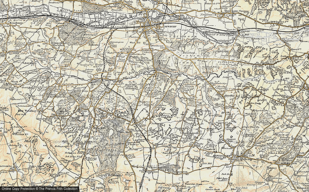 Old Map of Historic Map covering Adbury Park in 1897-1900