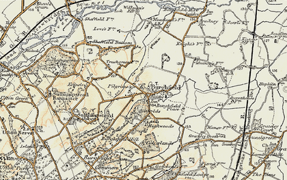Old map of Burghfield in 1897-1900