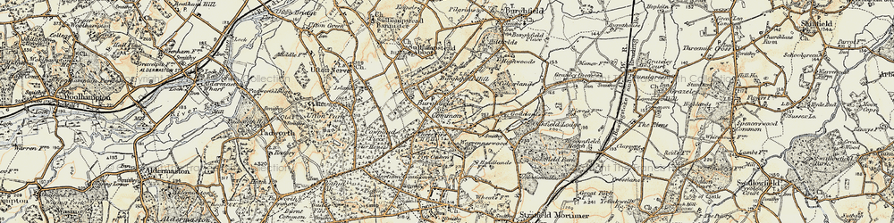 Old map of Wokefield Common in 1897-1900