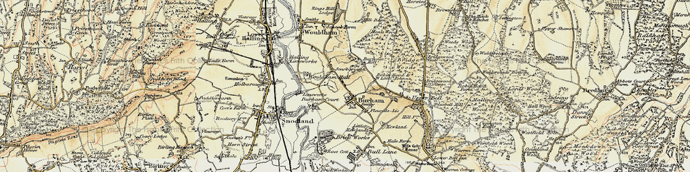 Old map of Burham in 1897-1898
