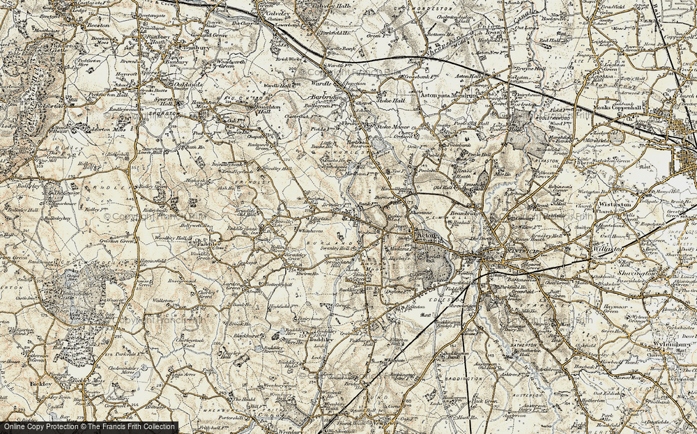 Old Map of Historic Map covering Bache Ho in 1902