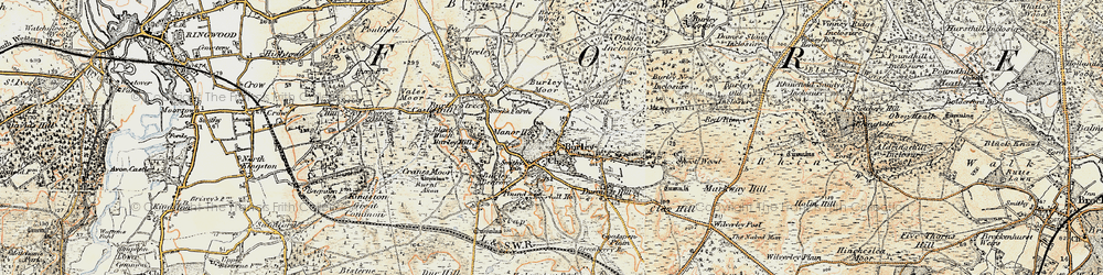 Old map of Burley in 1897-1909