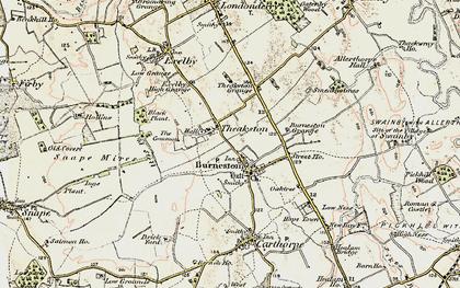 Old map of Burneston in 1903-1904