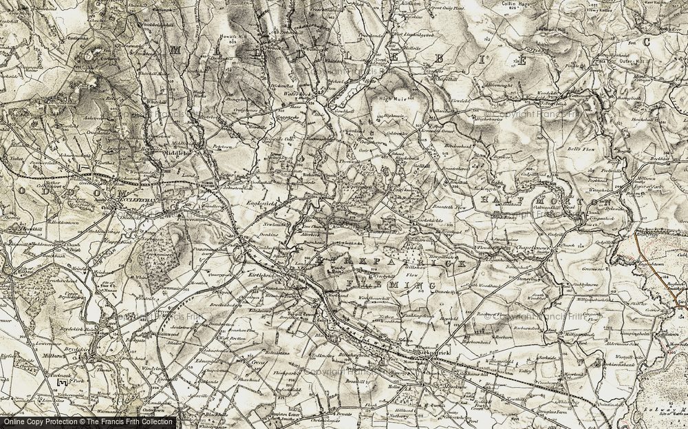 Old Map of Historic Map covering Langshawmuir in 1901-1904