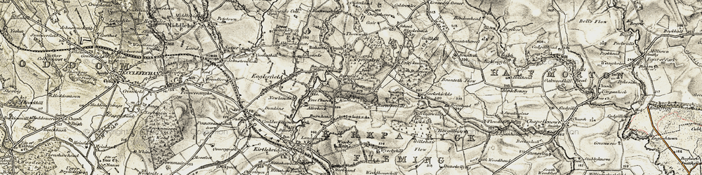 Old map of Wyseby Mains in 1901-1904