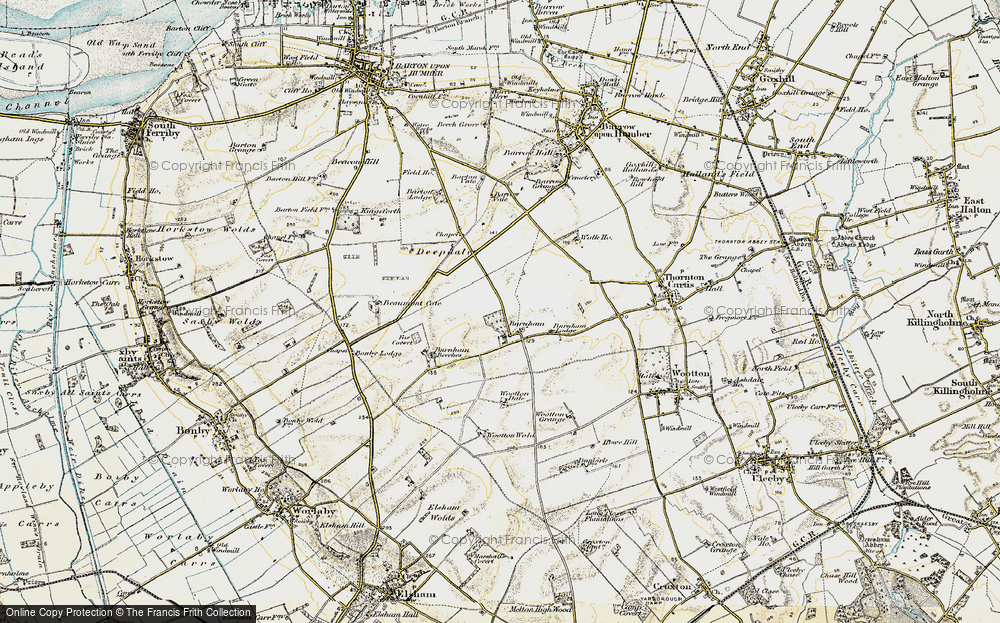 Old Map of Historic Map covering Wootton Dale in 1903-1908