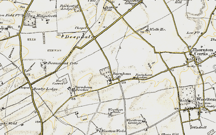 Old map of Wootton Wold in 1903-1908