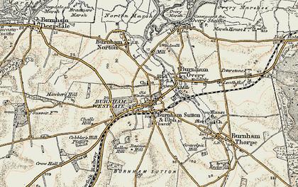Old map of Burnham Market in 1901-1902