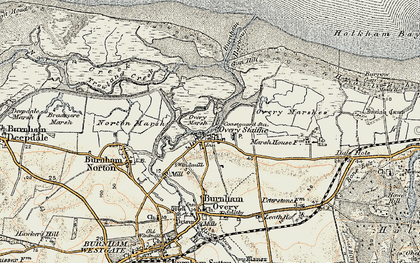 Old map of Burnham Overy Staithe in 1901-1902