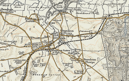 Old map of Burnham Overy Town in 1901-1902