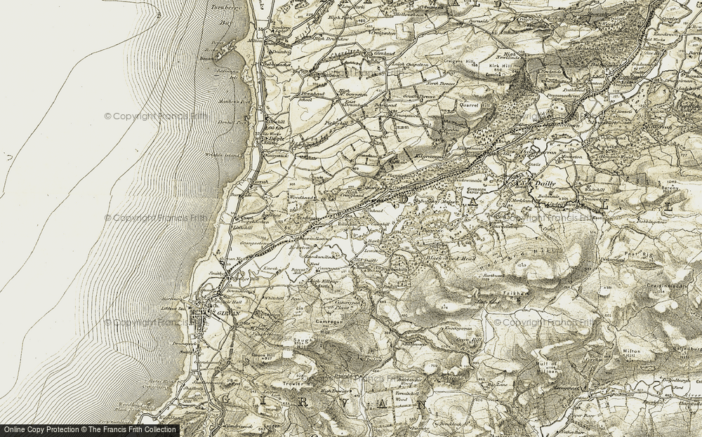 Old Map of Historic Map covering Woodhead in 1905