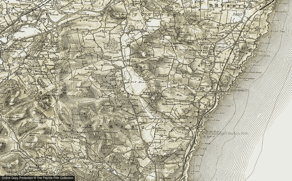 Old Map of Historic Map covering Backhill in 1908-1909