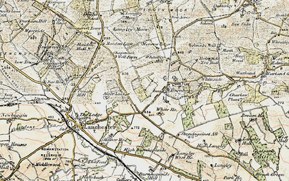 Old map of Burnhope in 1901-1904