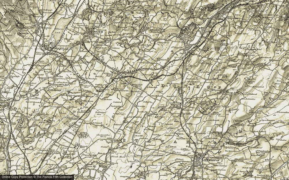 Old Map of Historic Map covering Aiket Castle in 1905-1906