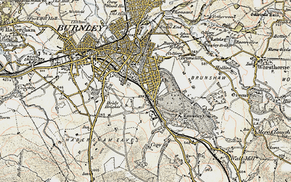 Old map of Burnley Wood in 1903
