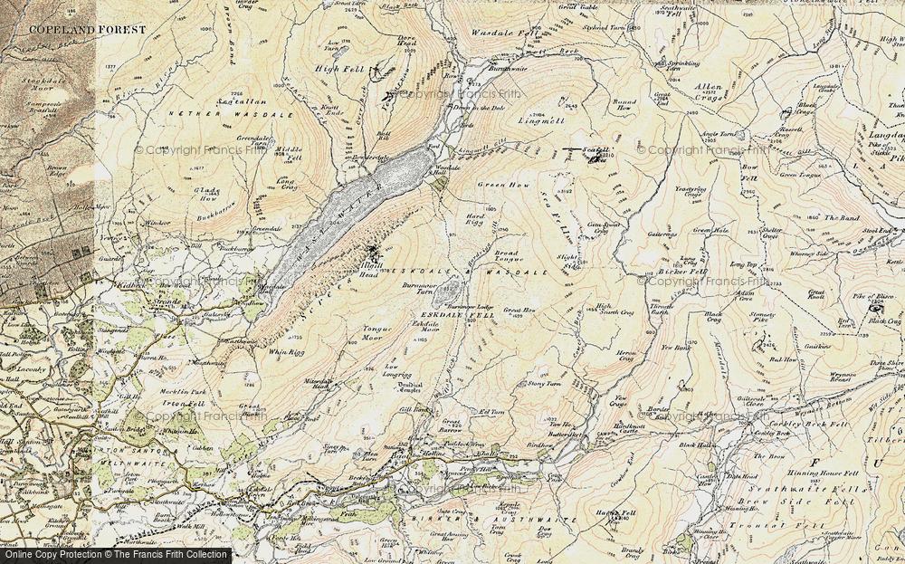 Old Map of Burnmoor Tarn, 1903-1904 in 1903-1904