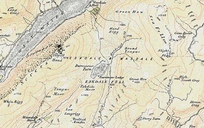 Old map of Burnmoor Tarn in 1903-1904