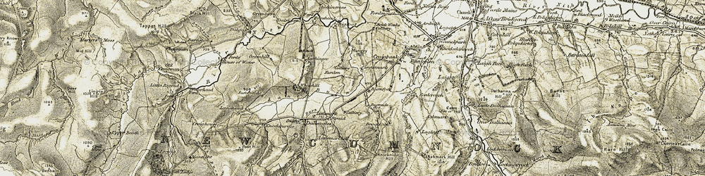 Old map of Lanehead in 1904-1905