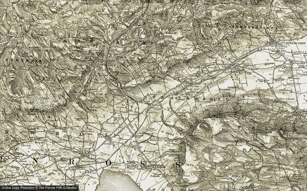 Old Map of Historic Map covering Balcanquhal in 1906-1908