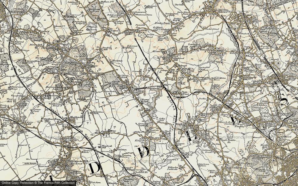 Old Map of Burnt Oak, 1897-1898 in 1897-1898