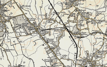 Old map of Burnt Oak in 1897-1898