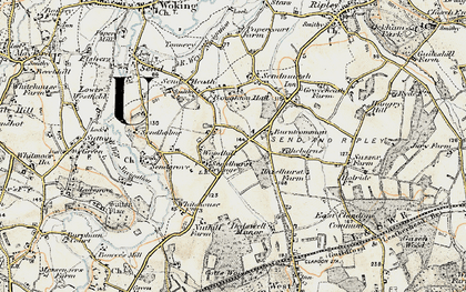 Old map of Burntcommon in 1897-1909