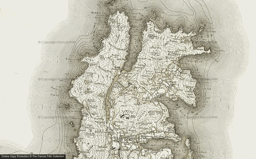 Old Map of Historic Map covering Lee of Saxavord in 1912