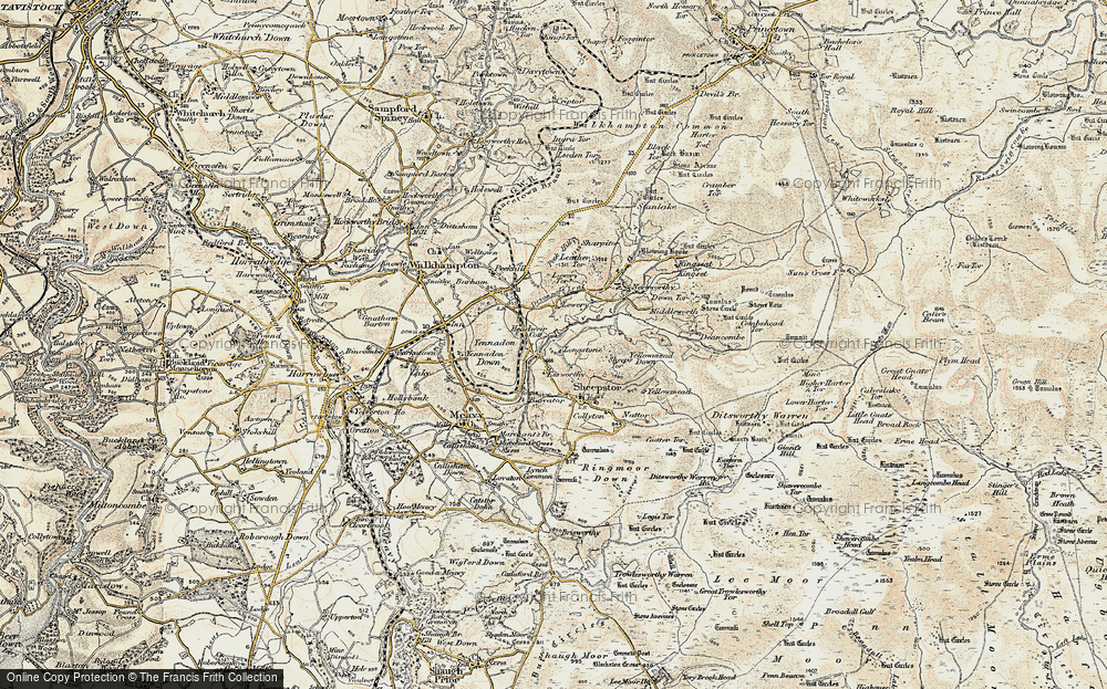 Old Map of Historic Map covering Leather Tor in 1899-1900