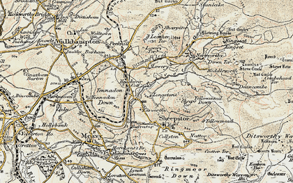 Old map of Leather Tor in 1899-1900