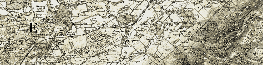 Old map of Wester Balgersho in 1907-1908