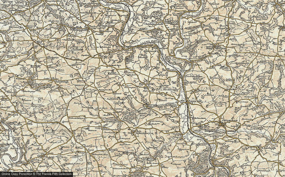 Old Map of Historic Map covering Balls Corner in 1899-1900