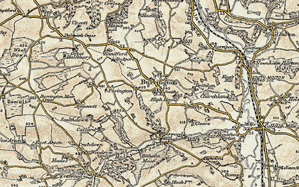 Old map of Balls Corner in 1899-1900