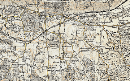Old map of Burrows Cross in 1898-1909
