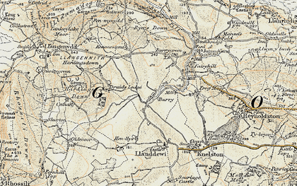 Old map of Burry in 1900-1901