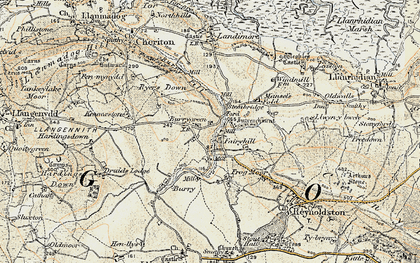 Old map of Burry Green in 1900-1901