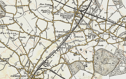 Old map of Burscough in 1902-1903