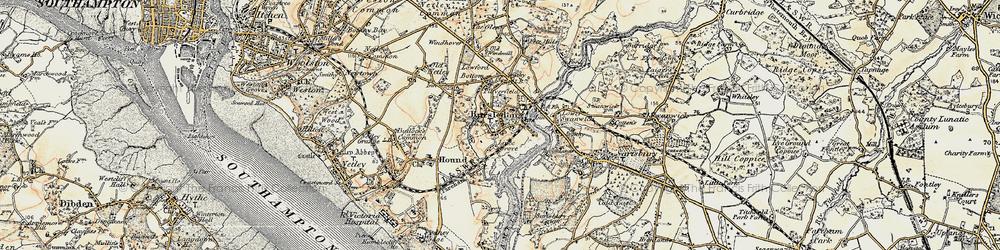 Old map of Bursledon in 1897-1909