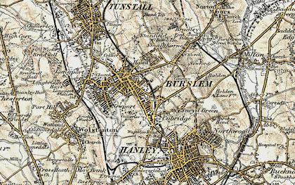Old map of Burslem in 1902