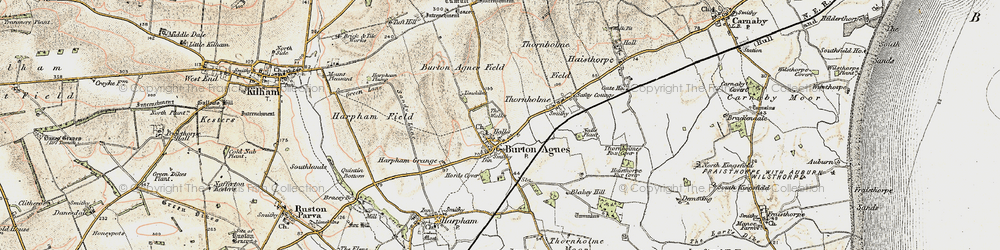 Old map of Burton Agnes in 1903-1904